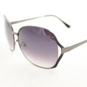 HOTLOVE Premium Quality Big Lens Sunglasses UV400 Lens Technology - Celebrity Sunglasses M9207 Metallic Grey Metal Frame Gradient Lens Fashion Sunglasses - Trendy Unisex Styles