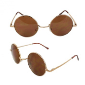 MLC Eyewear 7133-GDBN Retro Round Sunglasses Gold Frame and Brown Lenses for Women and Men