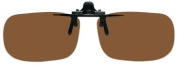 "Polarised Clip on Flip up Plastic Sunglasses, Large Tru Rectangle, 60mm or 2-23/64"" Wide X 38mm or 1.50"" High (128mm or 5"" Wide), Polarised Brown Lenses"
