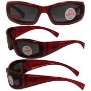Stray Cat Padded Motorcycle Riding Sunglasses Translucent Red Frame Anti-fog Smoke Lens