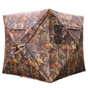 Durable Poly Fabric XL Pop Up Ground Hunting Blind Wood Leaf Camo Hub Style Tent w/ Zipper Roof Door Windows for Professional Wild Life Fowl Game Hunt Camping