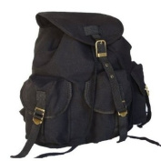 Military Inspired . Backpack Canvas Day Pack Black