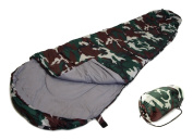 SLEEPING BAG - MUMMY Type 8' Foot CAMOUFLAGE USA CAMMO 20+ Degrees Carry Bag NEW