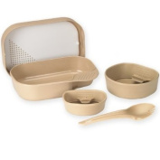 Wildo Camp A Box Mess Kit Lightweight Gear Spork Bowl Cup Plate - Tan