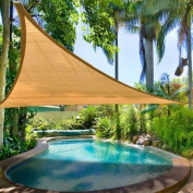 Oversized Desert Sand Colour 11 1/2' Triangle Outdoor Sun Shade Sail Canopy w/ Ropes Carabiners Carrying Bag UV Block Shelter Patio Pool Camping 3.5m Portable
