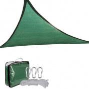 Oversized 11 1/2' Green Triangle Outdoor Sun Shade Sail Canopy w/ Ropes Carabiners Carrying Bag UV Block Shelter Patio Swimming Pool Camping Portable 3.5m