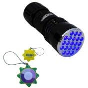 HQRP Urine Detector UV Blacklight Flashlight 21 LED with 380 nm Wavelength plus HQRP UV Tester