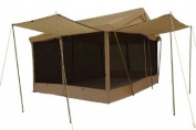Trek Tents 283A Cotton Cavas Cabin 10' x 14' Floorless Tent w/ 4 Awnings