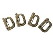 Grimloc D-Ring Locking Molle Carabiner 4pcs Pack Brown