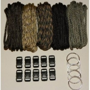 "550 Paracord Kit - Five Colours (Olive Drab, ACU, Woodland Camo, Desert Camo, & Black) 100 Feet Total w/10 3/8"" Black Side Release Buckles & (5) 32mm Key Rings"