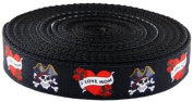 2.5cm Wide I Love Mom Ribbon on Black Heavy Nylon Webbing, 10 Yards