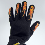 Mens Flames Merchanic Motorcycle Gloves Black Suede & Spandex Biker