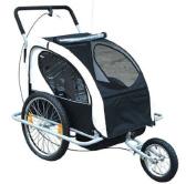 Aosom Elite 5.1cm 1 Double Child Bike Trailer / Jogger - Black / White