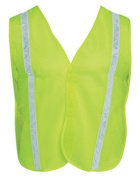 Liberty HiVizGard Polyester Mesh General Purpose Vest with 2.5cm Wide PVC White Stripes, Fluorescent Lime Green