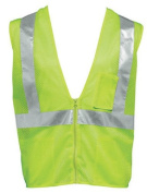 Liberty HiVizGard Polyester All Mesh Fabric Class 2 Safety Vest with 5.1cm Wide Silver Reflective Stripes in Vertical and Horizontal Patterns, Medium, Fluorescent Lime Green