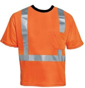 Liberty HiVizGard Polyester Open Weave Mesh Class 2 T-Shirt with 5.1cm Wide Silver Reflective Stripes and 1 Pocket, 2X-Large, Fluorescent Orange