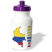 777images Flags and Maps - South America - Colombian flag in the map and letters of Colombia - Water Bottles