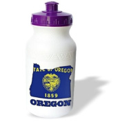 777images Flags and Maps - States - Oregon state flag in the outline map and letters for Oregon - Water Bottles