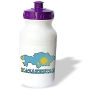 777images Flags and Maps - The flag of Kazakhstan in the outline map of the country and name, Kazakhstan - Water Bottles