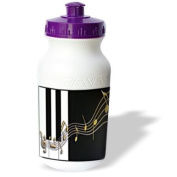 Beverly Turner Design - Gold Music Notes on Piano Keys - Water Bottles