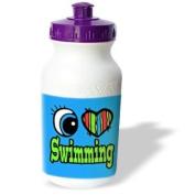 Dooni Designs Eye Heart I Love Designs - Bright Eye Heart I Love Swimming - Water Bottles