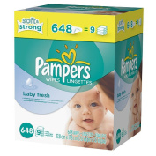 Pampers Baby Fresh Baby Wipes, Refill Pack, Scented, 648 Ct