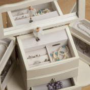 Mele & Co. Angelica Girl's Wooden Musical Ballerina Jewelry Box - Ivory
