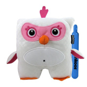 Inkoos Mini Plush Owl with Markers - Pink and White