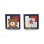 Kids Line Oxford Bear 2-Piece Canvas Wall Art