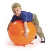 CanDo Non-Slip Inflatable Exercise Ball with Stability Feet, Yellow, 45cm