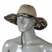 Como Men Wide Full Brim Brown Black Camouflage Mesh Design Fishing Hiking Hat Cap