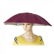 Como Burgundy Stretchy Head Band Umbrella Headwear Hat for Fishing