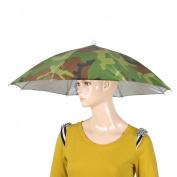 Como Beach Golf Fishing Army Green Hand Free Headwear Umbrella Hat 58cm Dia