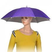 Como Purple Polyester 8 Ribs Fishing Sun Rain Headwear Umbrella Hat Cap