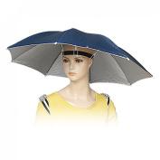 Como 43.2cm Length Hands Free Outdoor Sports Fishing Rain Sun Umbrella Hat Navy Blue