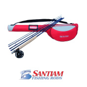Santiam Fishing Rods Travel Fly Rod 5 Piece 9' 3/4 Line WT Graphite Fly Rod/Reel and DLX Case Combo