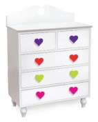 Room Magic Heart 5 Drawer Chest, White