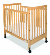 Foundations 1631040 Foundations SafetyCraft Compact Fixed-Side Crib in Natural with Adjustable Mattress Board Slatted