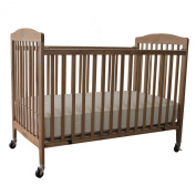 LA Baby Folding Wooden Full Sized Crib with Dual-fixed Sides, Natural