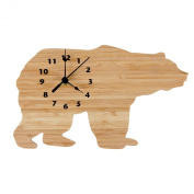 Trend Lab Northwoods Bear Shaped Wall Clock, Natural
