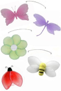 Jewel Butterfly Dragonfly Ladybug Flower Bee Mobile Decorations - mobiles hanging butterflies dragonfly ladybugs bees flowers nylon baby nursery bedroom girls room wall ceiling decor baby bridal shower birthday wedding party craft decoration