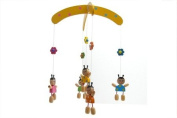 Wooden Handpainted Girls with Pigtails Mobile