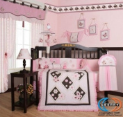 GEENNY Musical Mobile For Boutique Pink Brown Butterfly CRIB BEDDING SET