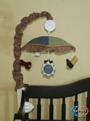 GEENNY Musical Mobile For Baby Boy Constructor CRIB BEDDING SET
