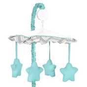 Turquoise and Grey Zig Zag Musical Baby Crib Mobile by Sweet Jojo Designs