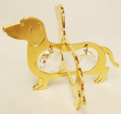 24K Gold Plated Hanging Sun Catcher or Ornament..... Dachshund With Two Clear. Austrian Crystals