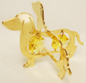 24K Gold Plated Hanging Sun Catcher or Ornament..... Dachshund With Two Gold Colour. Austrian Crystals