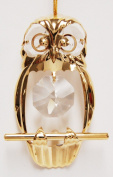Owl Hanging Sun Catcher or Ornament..... With Clear. Austrian Crystals