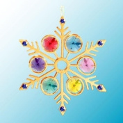 24K Gold Plated Hanging Sun Catcher or Ornament..... Snowflake With Mixed Colours. Austrian Crystals