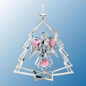 Hanging Sun Catcher or Ornament..... Angel Holding Heart In Tree Shell With Pink. Austrian Crystals